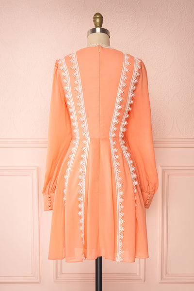 Piegi Peach Coral Long Sleeved Short Dress | Boutique 1861 back view