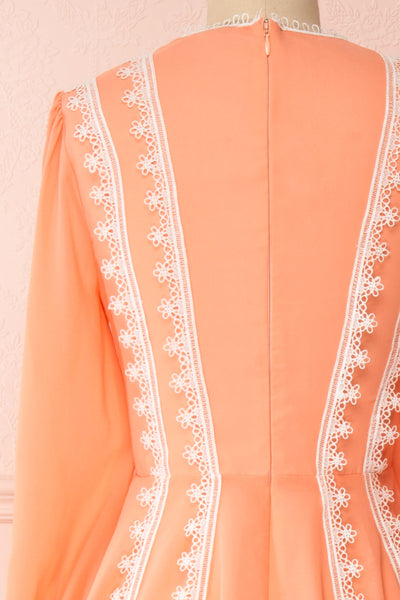 Piegi Peach Coral Long Sleeved Short Dress | Boutique 1861 back close-up