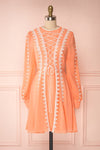 Piegi Peach Coral Long-Sleeved Short Dress | Boutique 1861