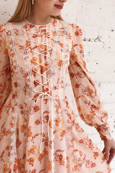 Piegi Floral Light Pink Floral Short Dress | Boutique 1861 on model