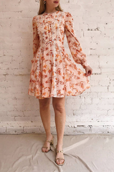 Piegi Floral Light Pink Floral Short Dress | Boutique 1861 model look
