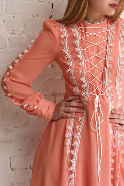 Piegi Peach Coral Long Sleeved Short Dress | Boutique 1861 model close up