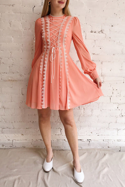 Piegi Peach Coral Long Sleeved Short Dress | Boutique 1861 on model