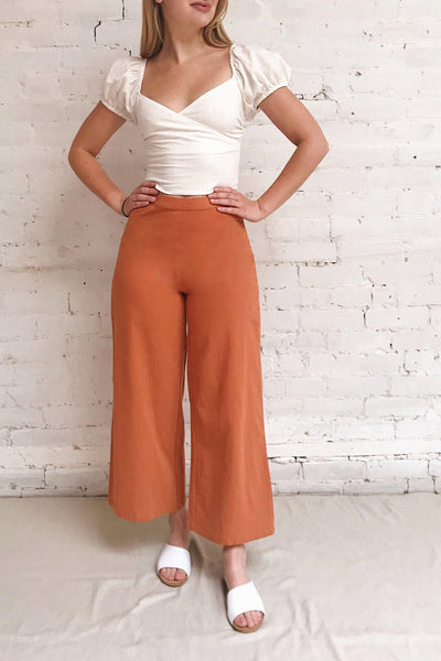 Laskowice Orange Wide Straight Leg Pants | La petite garçonne model look