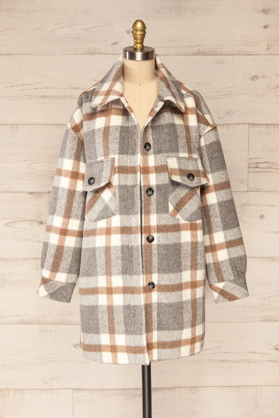 Pietrapaolo Grey Plaid Wool Shirt Jacket | La petite garçonne front view open