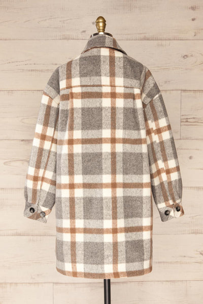Pietrapaolo Grey Plaid Wool Shirt Jacket | La petite garçonne back view