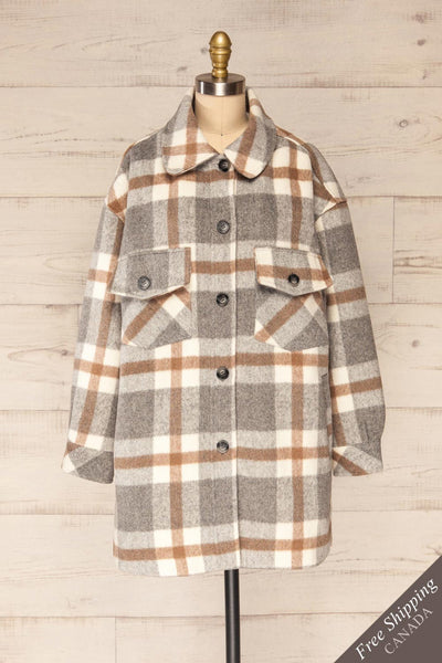 Pietrapaolo Grey Plaid Wool Shirt Jacket | La petite garçonne front view FS
