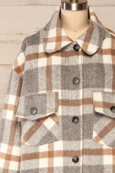 Pietrapaolo Grey Plaid Wool Shirt Jacket | La petite garçonne frotn close up