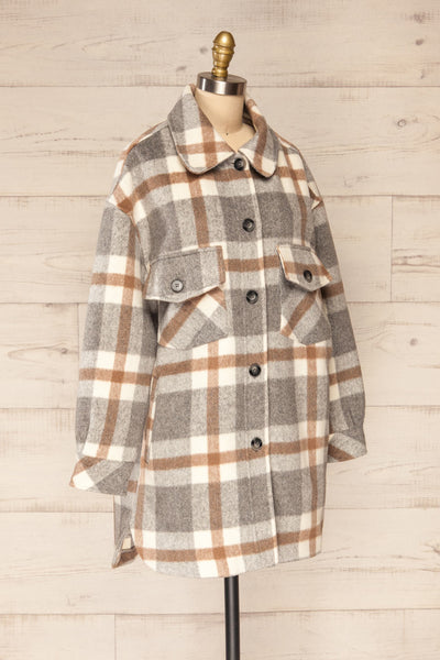 Pietrapaolo Grey Plaid Wool Shirt Jacket | La petite garçonne side view