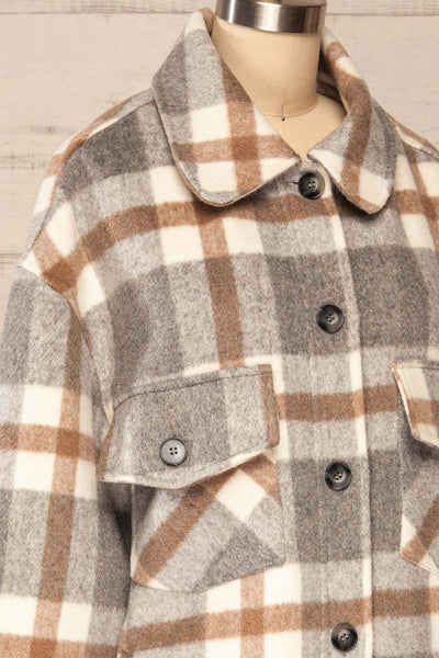 Pietrapaolo Grey Plaid Wool Shirt Jacket | La petite garçonne side close up