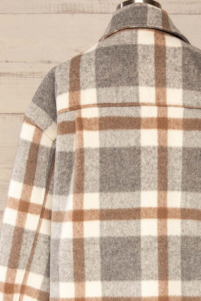 Pietrapaolo Grey Plaid Wool Shirt Jacket | La petite garçonne back close up