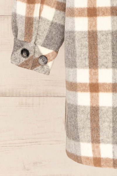 Pietrapaolo Grey Plaid Wool Shirt Jacket | La petite garçonne sleeve