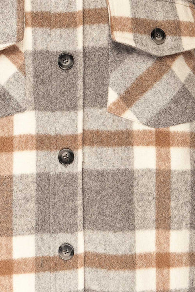 Pietrapaolo Grey Plaid Wool Shirt Jacket | La petite garçonne fabric