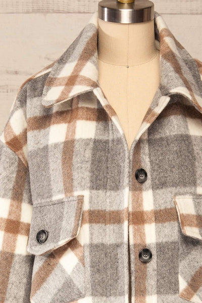 Pietrapaolo Grey Plaid Wool Shirt Jacket | La petite garçonne front close up open