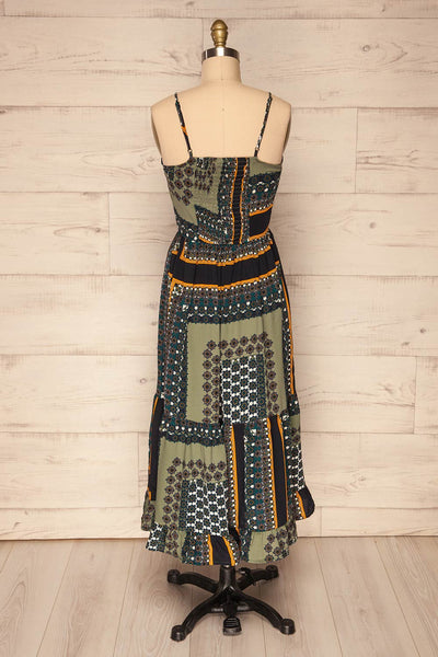 Pilica Leaf Green Paisley Midi Summer Dress | La Petite Garçonne
