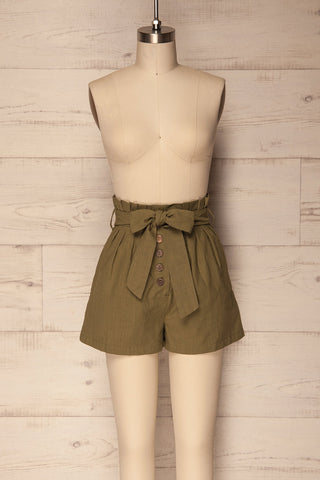 Pilzno Khaki Button-Up HIgh Waisted Shorts | La Petite Garçonne 1