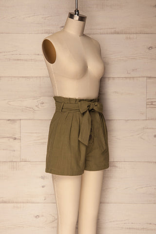 Pilzno Khaki Button-Up HIgh Waisted Shorts | La Petite Garçonne 3
