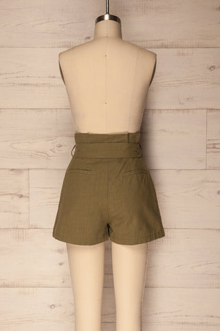 Pilzno Khaki Button-Up HIgh Waisted Shorts | La Petite Garçonne 5