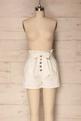 Pilzno White Button-Up HIgh Waisted Shorts | La Petite Garçonne 1