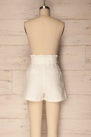 Pilzno White Button-Up HIgh Waisted Shorts | La Petite Garçonne 5