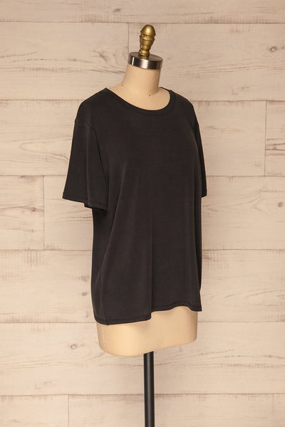 Pinhel Black Basic Loose T-Shirt | La petite garçonne side view