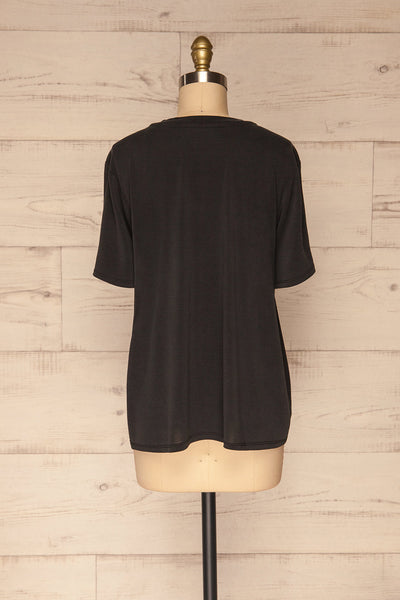Pinhel Black Basic Loose T-Shirt | La petite garçonne back view