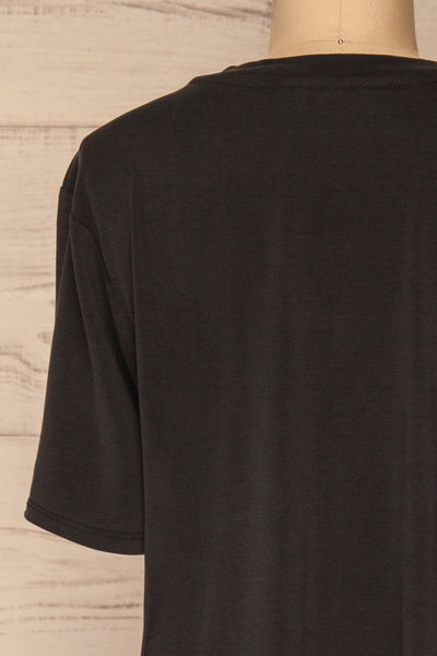 Pinhel Black Basic Loose T-Shirt | La petite garçonne back close-up