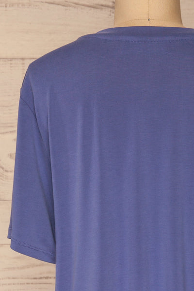 Pinhel Indigo Basic Loose T-Shirt | La petite garçonne back close-up