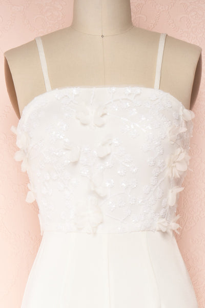 Plaisance Bridal Jumpsuit w/ Removable Tulle Skirt | Boudoir 1861 front close-up sling