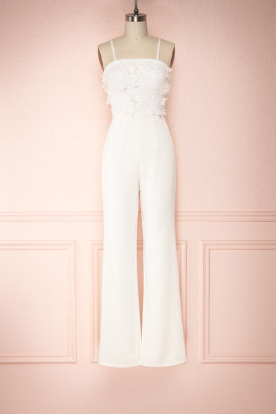 Plaisance Bridal Jumpsuit w/ Removable Tulle Skirt | Boudoir 1861 front view sling