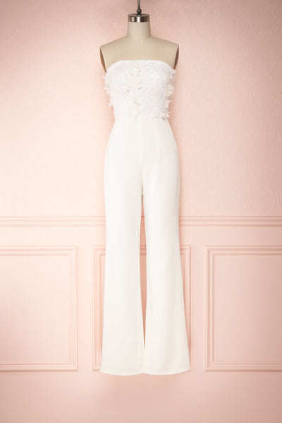 Plaisance Bridal Jumpsuit w/ Removable Tulle Skirt | Boudoir 1861 front view