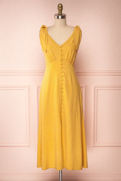 Plaucia Yellow Polka Dot A-Line Midi Dress front view | Boutique 1861