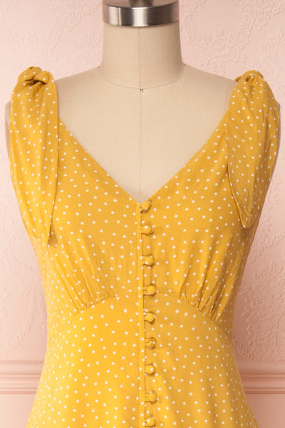 Plaucia Yellow Polka Dot A-Line Midi Dress front close up | Boutique 1861