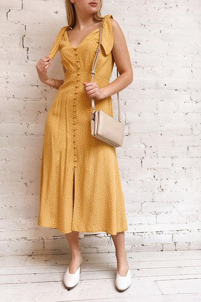 Plaucia Yellow Polka Dot A-Line Midi Dress | Boutique 1861 model look