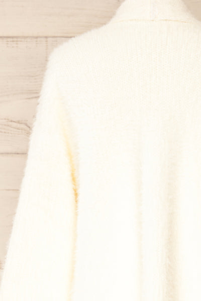 Plock Ivory Fuzzy Open Cardigan | La petite garçonne back close-up