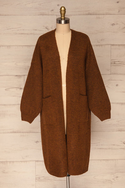 Pniewy Brown Long Knit Cardigan | La petite garçonne bottom