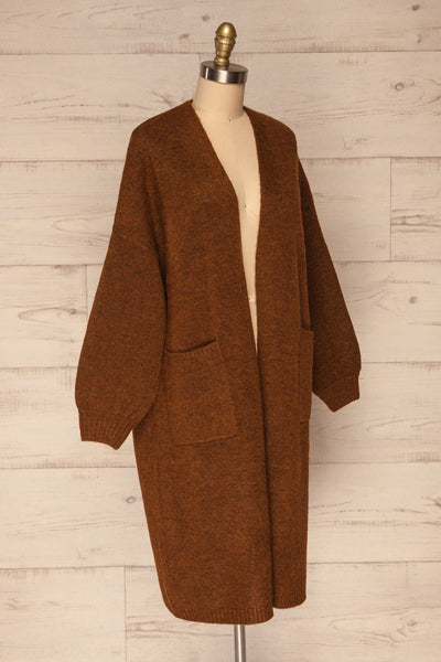 Pniewy Brown Long Knit Cardigan | La petite garçonne side view