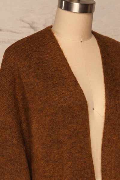 Pniewy Brown Long Knit Cardigan | La petite garçonne side close up