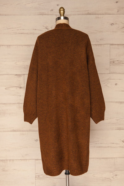 Pniewy Brown Long Knit Cardigan | La petite garçonne back view