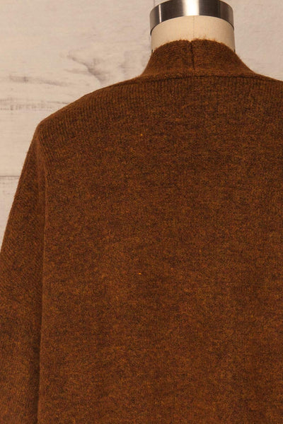 Pniewy Brown Long Knit Cardigan | La petite garçonne back close up