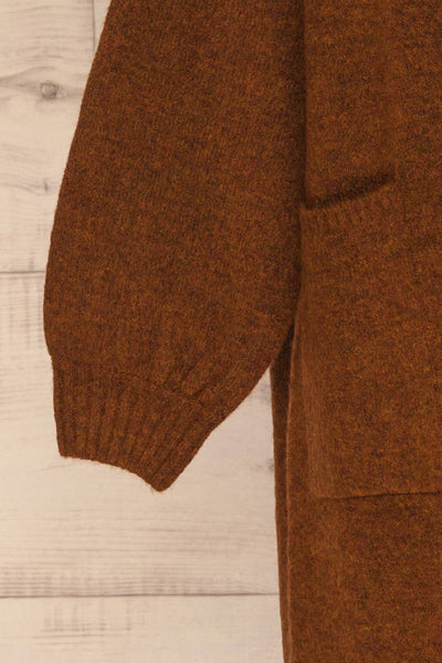 Pniewy Brown Long Knit Cardigan | La petite garçonne sleeve