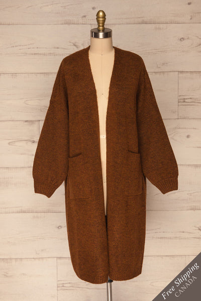 Pniewy Brown Long Knit Cardigan | La petite garçonne front view