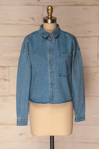 Poddebice Blue Denim Button-Up Crop Top | La Petite Garçonne