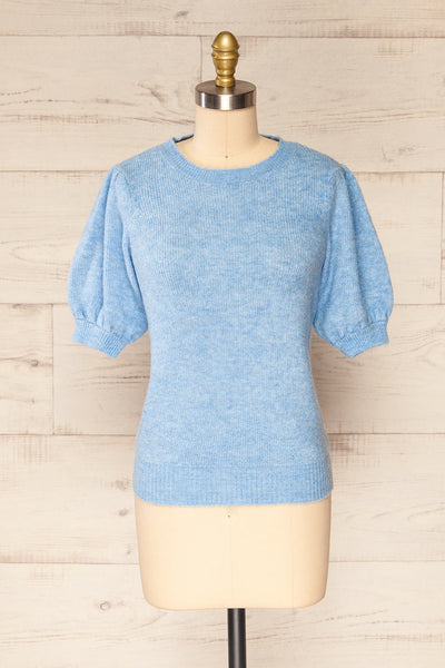 Polikh Blue Puffy Sleeve Knit Top | La petite garçonne front view