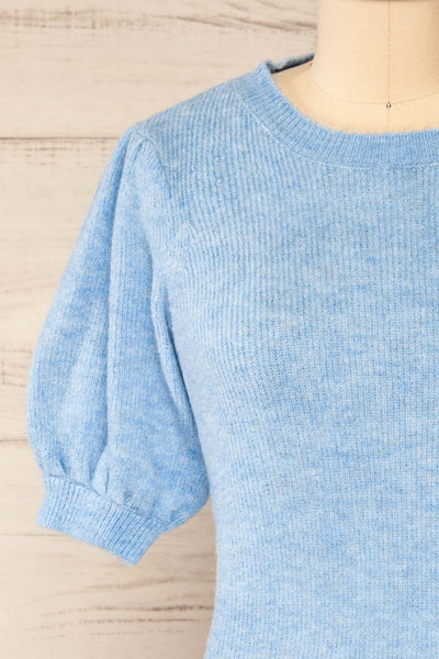 Polikh Blue Puffy Sleeve Knit Top | La petite garçonne front close-up