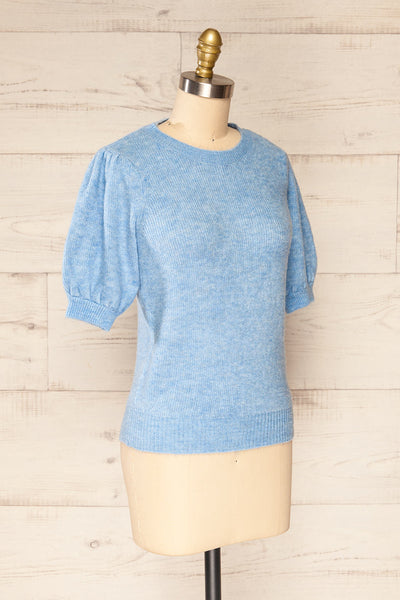 Polikh Blue Puffy Sleeve Knit Top | La petite garçonne side view