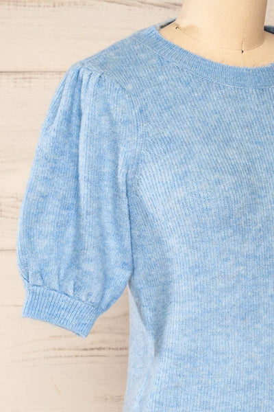 Polikh Blue Puffy Sleeve Knit Top | La petite garçonne side close-up