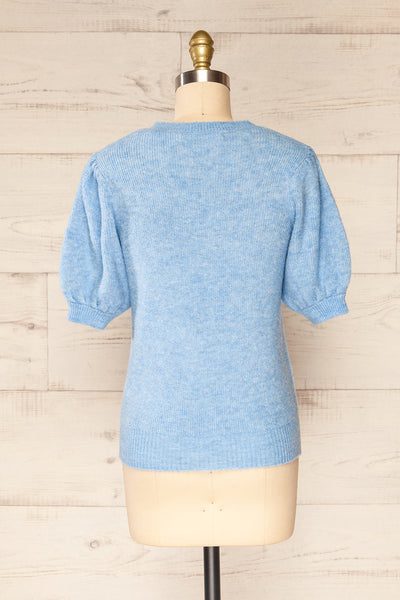 Polikh Blue Puffy Sleeve Knit Top | La petite garçonne back view