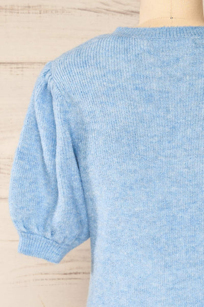 Polikh Blue Puffy Sleeve Knit Top | La petite garçonne back close-up