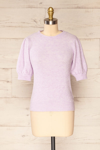 Polikh Lilac Puffy Sleeve Knit Top | La petite garçonne front view